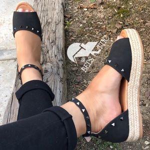 Vegan Leather Black Studded Flatform Sandals